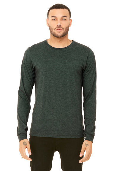 Bella + Canvas 3501 Mens Jersey Long Sleeve Crewneck T-Shirt Heather Forest Green Front
