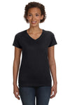 LAT 3507 Womens Fine Jersey Short Sleeve V-Neck T-Shirt Black Front