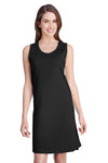 LAT 3523 Womens Racerback Tank Top Dress Black Front