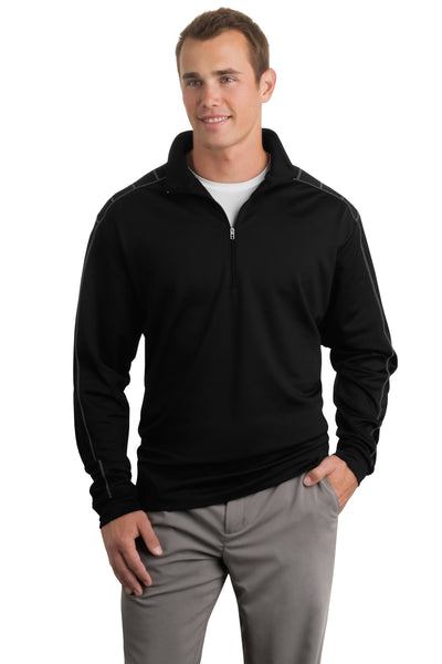 Nike 354060 Mens Dri-Fit Moisture Wicking 1/4 Zip Sweatshirt Black/Dark Grey Front