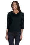LAT 3577 Womens Premium Jersey 3/4 Sleeve V-Neck T-Shirt Black Front