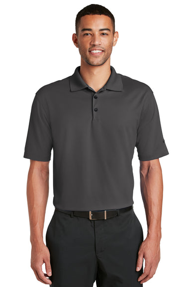 Nike 363807 Mens Dri-Fit Moisture Wicking Short Sleeve Polo Shirt Anthracite Grey Front