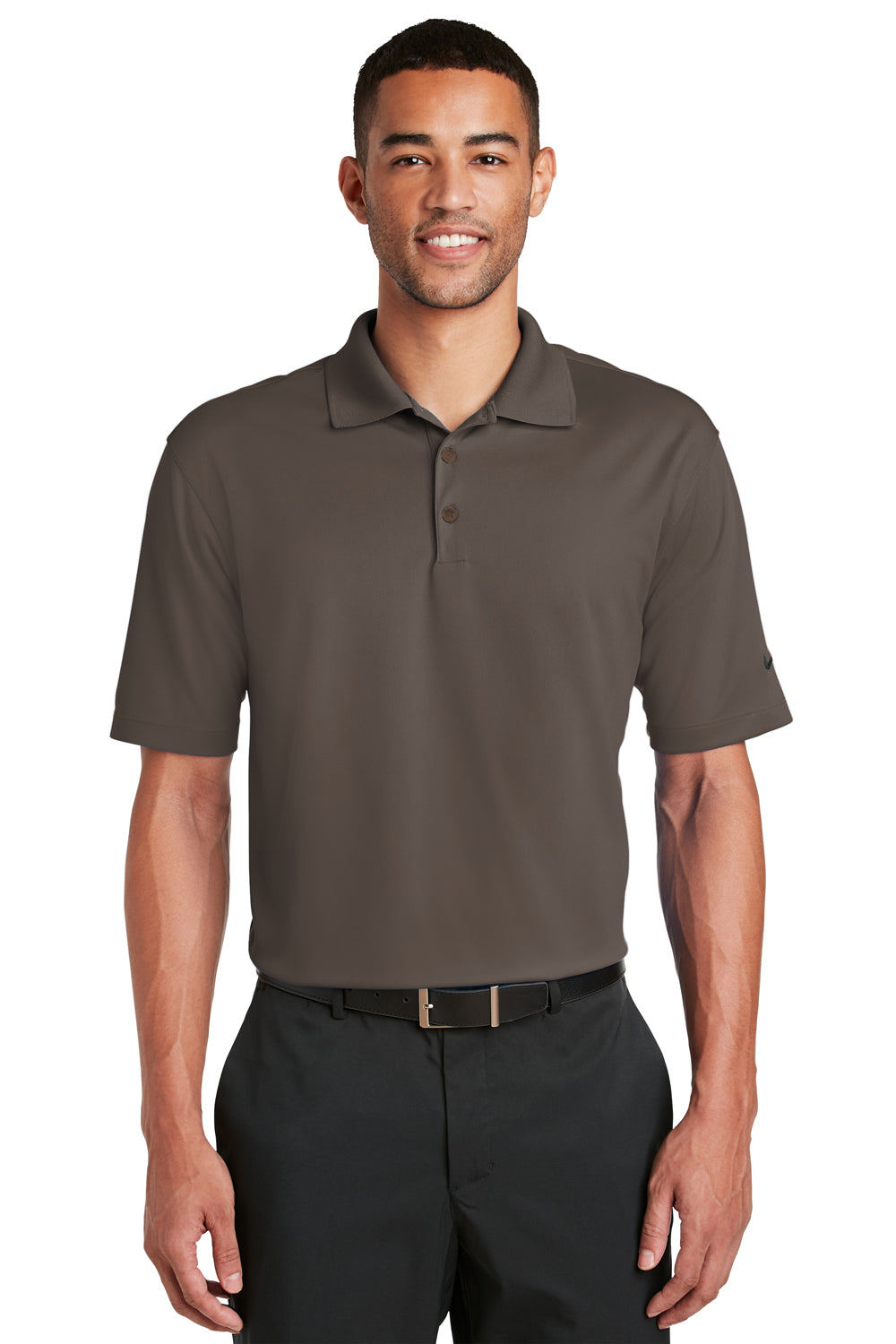 Nike 363807 Mens Dri-Fit Moisture Wicking Short Sleeve Polo Shirt Brown Front