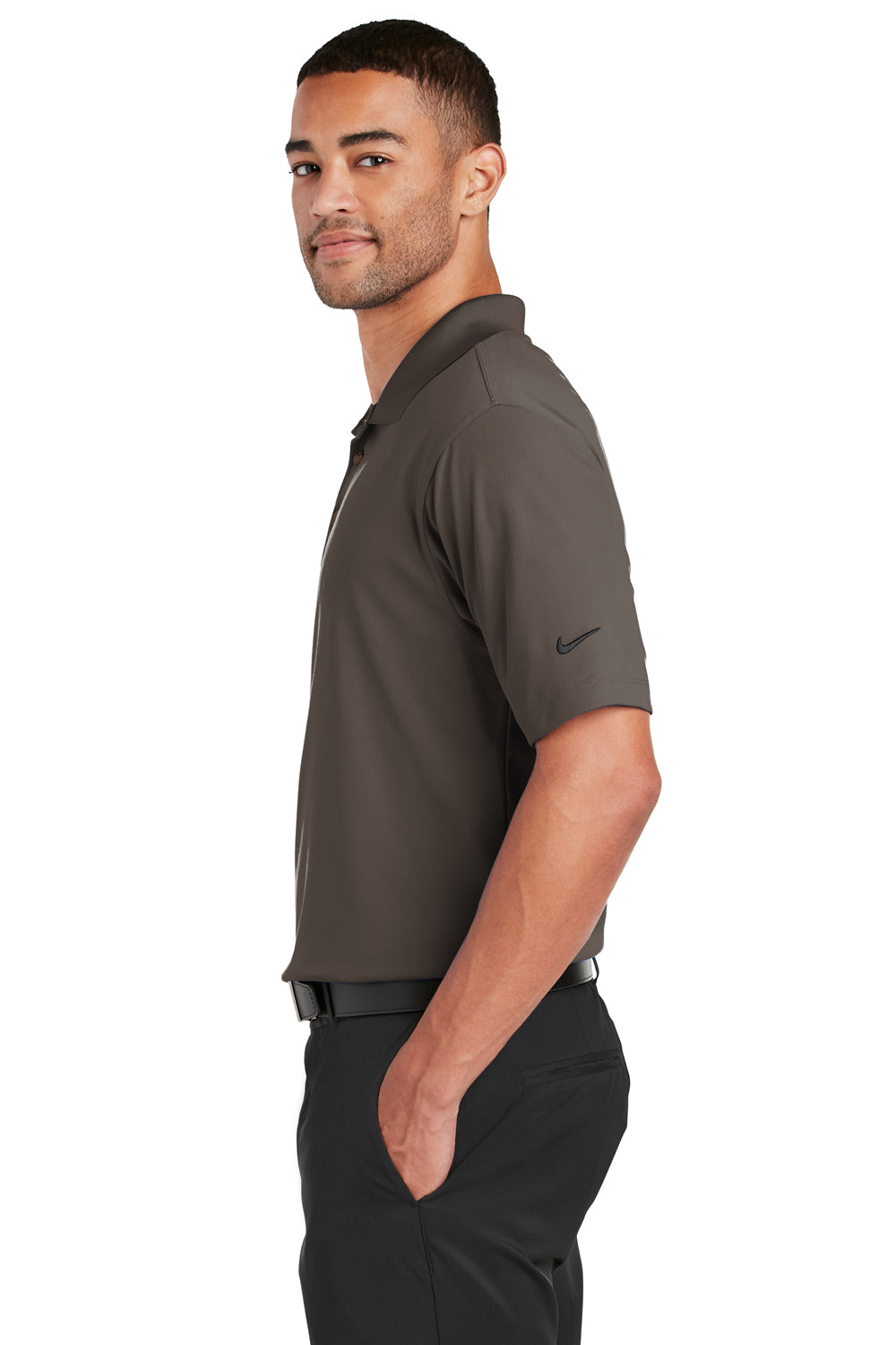 Nike 363807 Mens Dri-Fit Moisture Wicking Short Sleeve Polo Shirt Brown Side