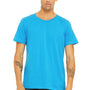 Bella + Canvas Mens Neon Blue Short Sleeve Crewneck T-Shirt