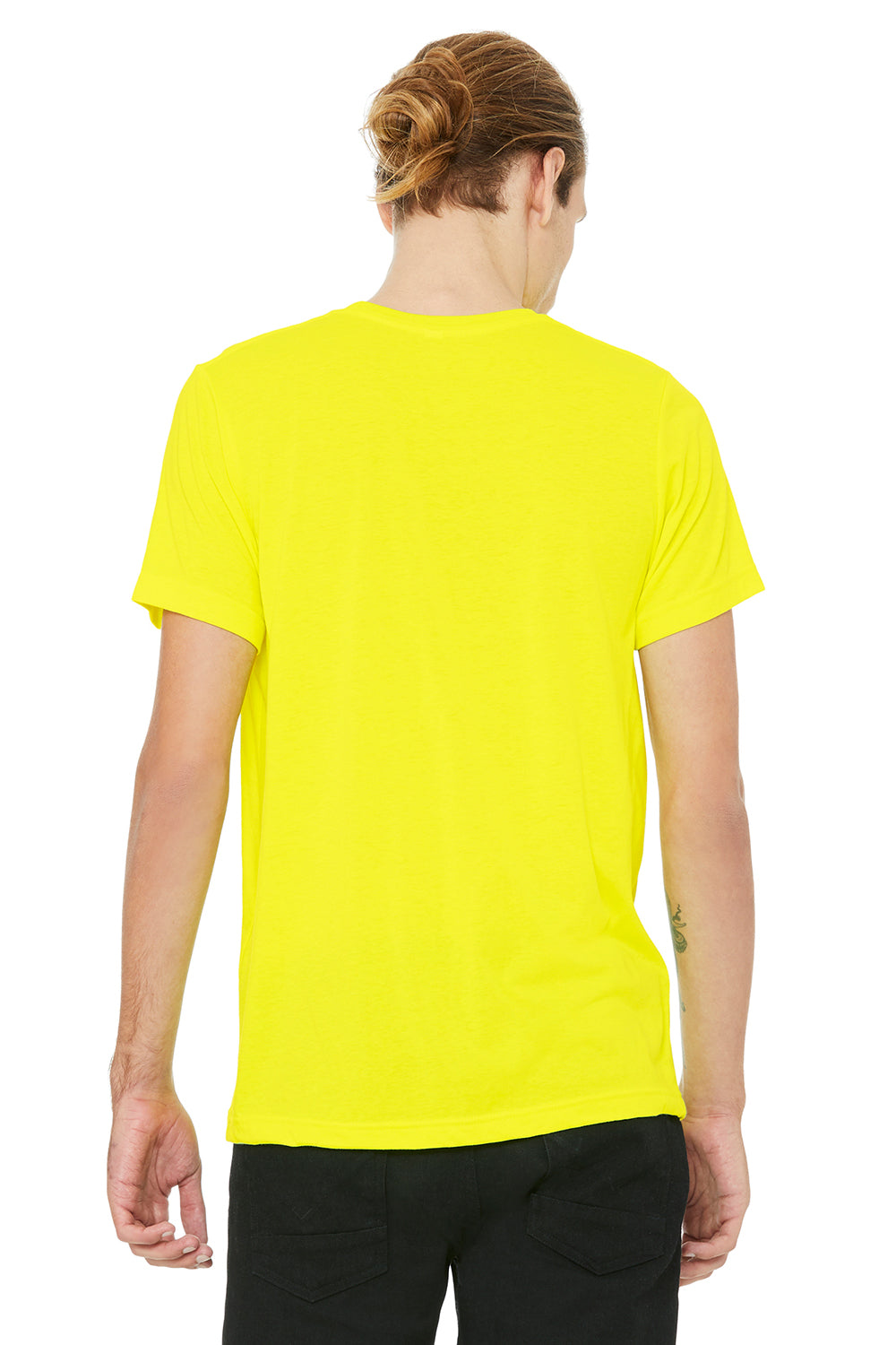 Bella + Canvas 3650 Mens Short Sleeve Crewneck T-Shirt Neon Yellow Back