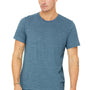 Bella + Canvas Mens Denim Blue Slub Short Sleeve Crewneck T-Shirt