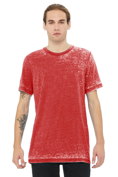 Bella + Canvas 3650 Mens Short Sleeve Crewneck T-Shirt Red Acid Washed Front