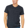 Bella + Canvas Mens Navy Blue Slub Short Sleeve Crewneck T-Shirt
