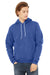 Bella + Canvas 3719 Mens Sponge Fleece Hooded Sweatshirt Hoodie Royal Blue Front