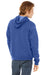 Bella + Canvas 3719 Mens Sponge Fleece Hooded Sweatshirt Hoodie Royal Blue Back