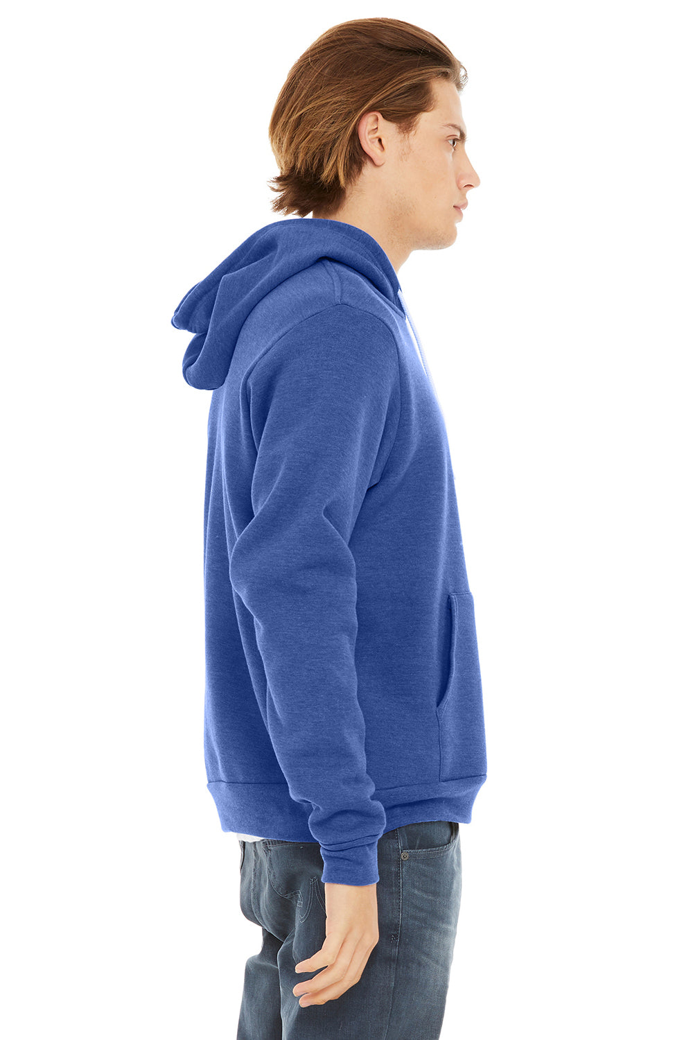 Bella + Canvas 3719 Mens Sponge Fleece Hooded Sweatshirt Hoodie Royal Blue Side