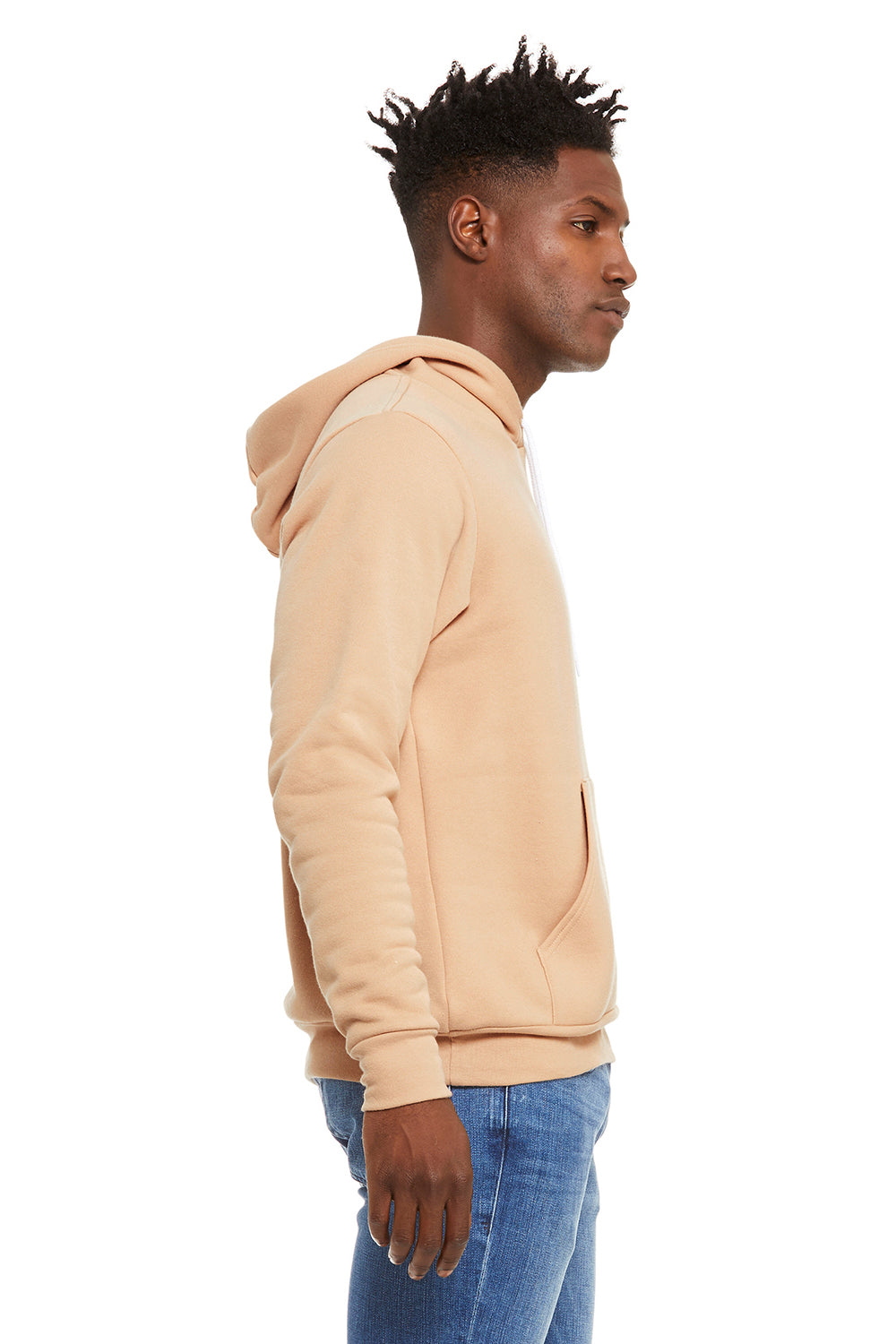 Bella + Canvas 3719 Sponge Fleece Hooded Sweatshirt Hoodie Heather Sand Dune Side