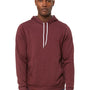 Bella + Canvas Mens Heather Maroon Sponge Fleece Hooded Sweatshirt Hoodie