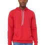 Bella + Canvas Mens Heather Red Sponge Fleece Hooded Sweatshirt Hoodie