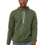 Bella + Canvas Mens Military Green Sponge Fleece Hooded Sweatshirt Hoodie