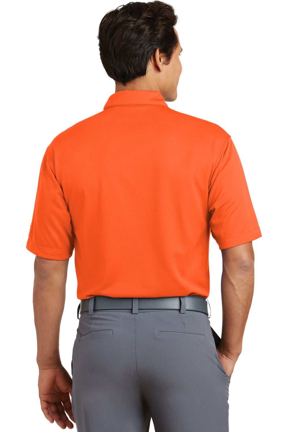 Nike 373749 Mens Dri-Fit Moisture Wicking Short Sleeve Polo Shirt Orange Back