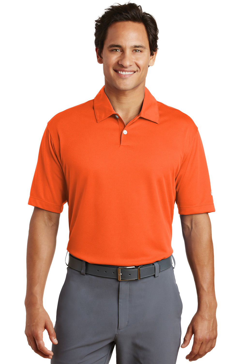 Nike 373749 Mens Dri-Fit Moisture Wicking Short Sleeve Polo Shirt Orange Front