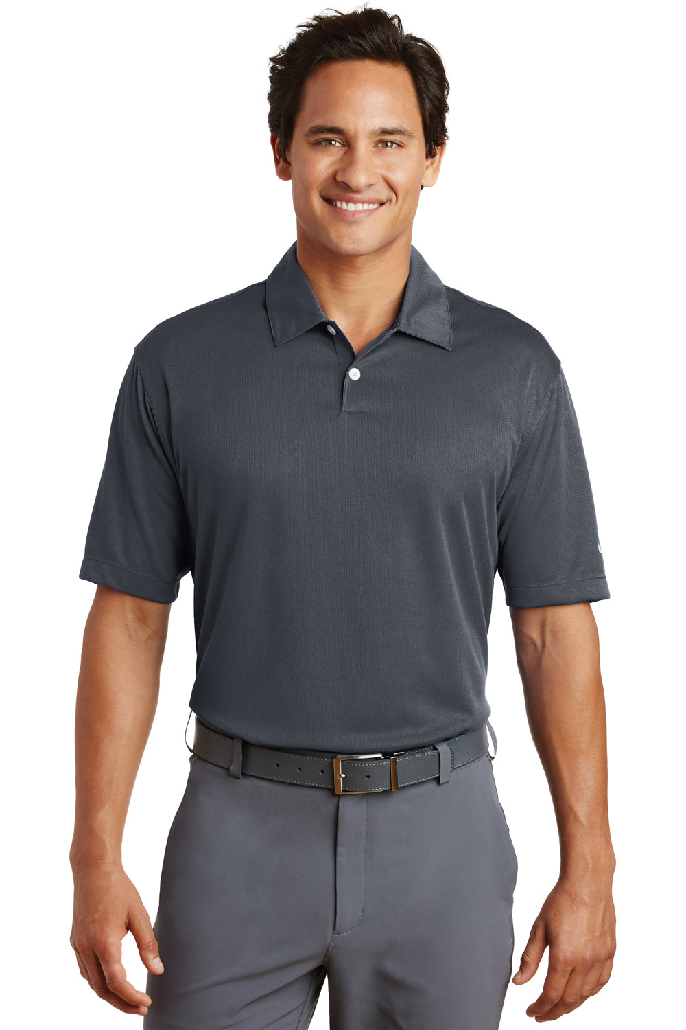 Nike 373749 Mens Dri-Fit Moisture Wicking Short Sleeve Polo Shirt Dark Grey Front