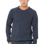 Bella + Canvas Mens Heather Navy Blue Sponge Fleece Crewneck Sweatshirt