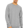 Bella + Canvas Mens Heather Grey Sponge Fleece Crewneck Sweatshirt