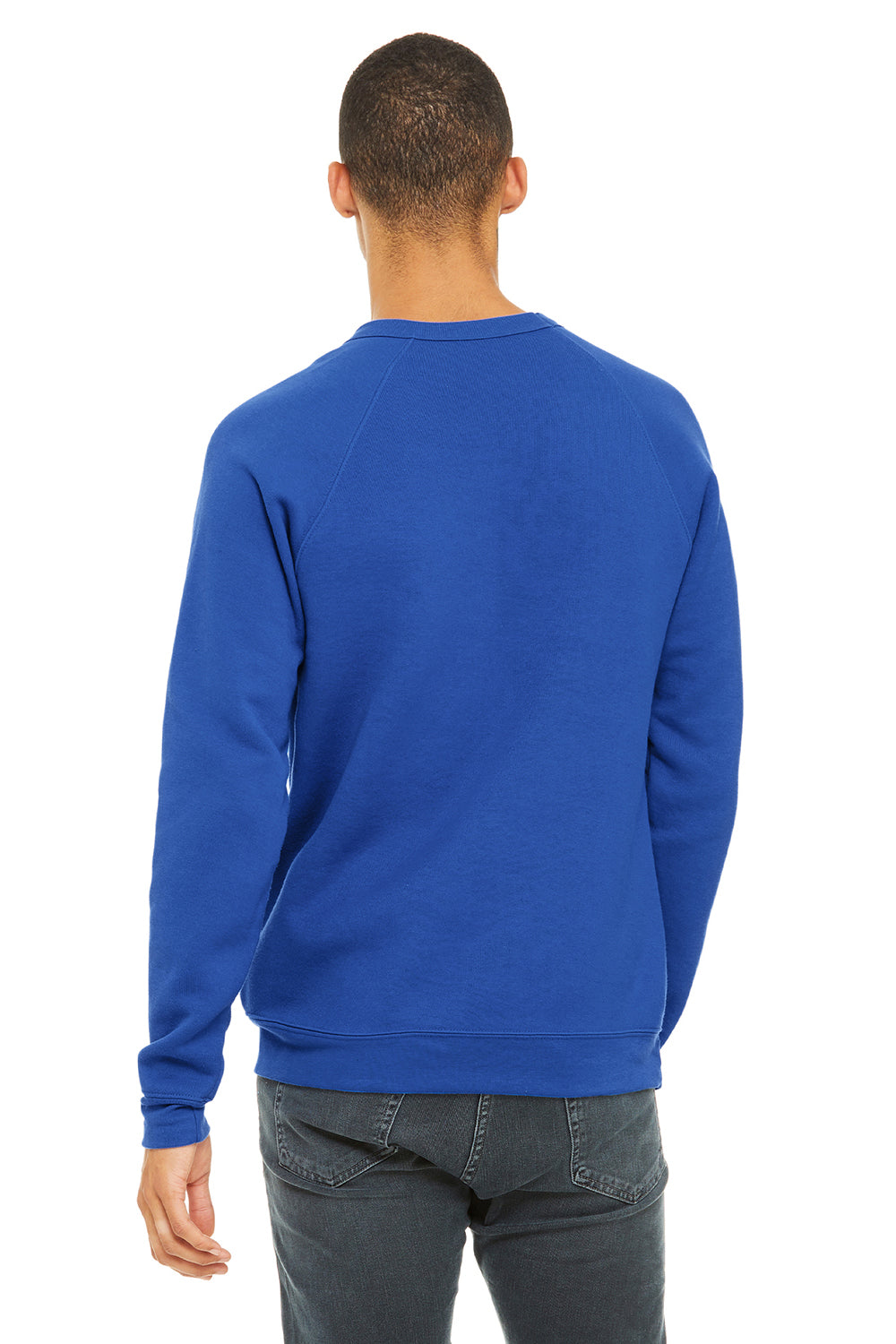 Bella + Canvas 3901 Mens Sponge Fleece Crewneck Sweatshirt Royal Blue Back