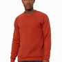 Bella + Canvas Mens Brick Red Sponge Fleece Crewneck Sweatshirt