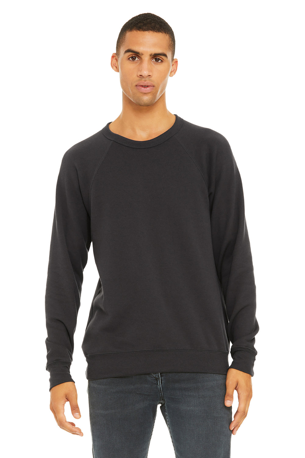 Bella + Canvas 3901 Mens Sponge Fleece Crewneck Sweatshirt Dark Grey Front