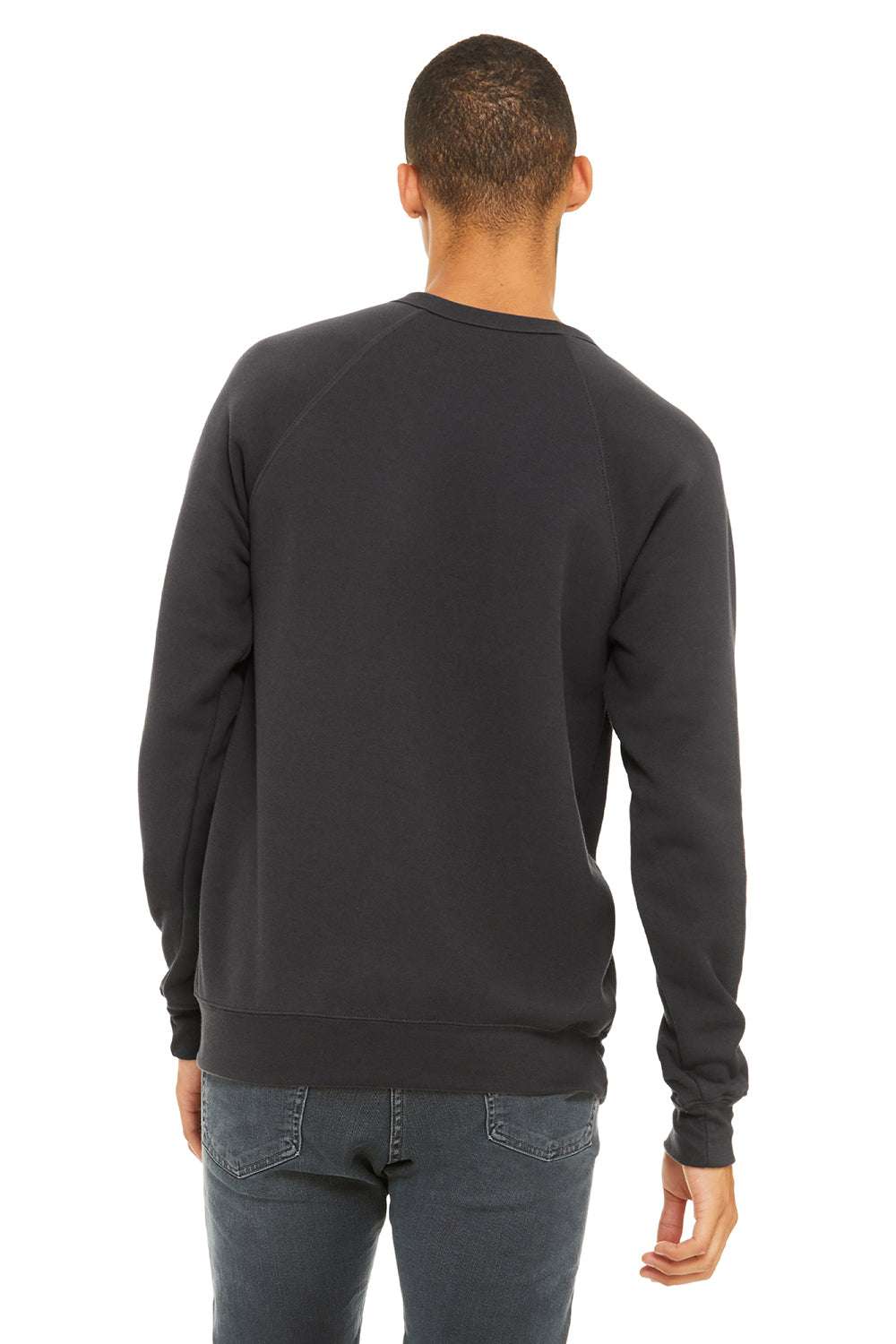 Bella + Canvas 3901 Mens Sponge Fleece Crewneck Sweatshirt Dark Grey Back