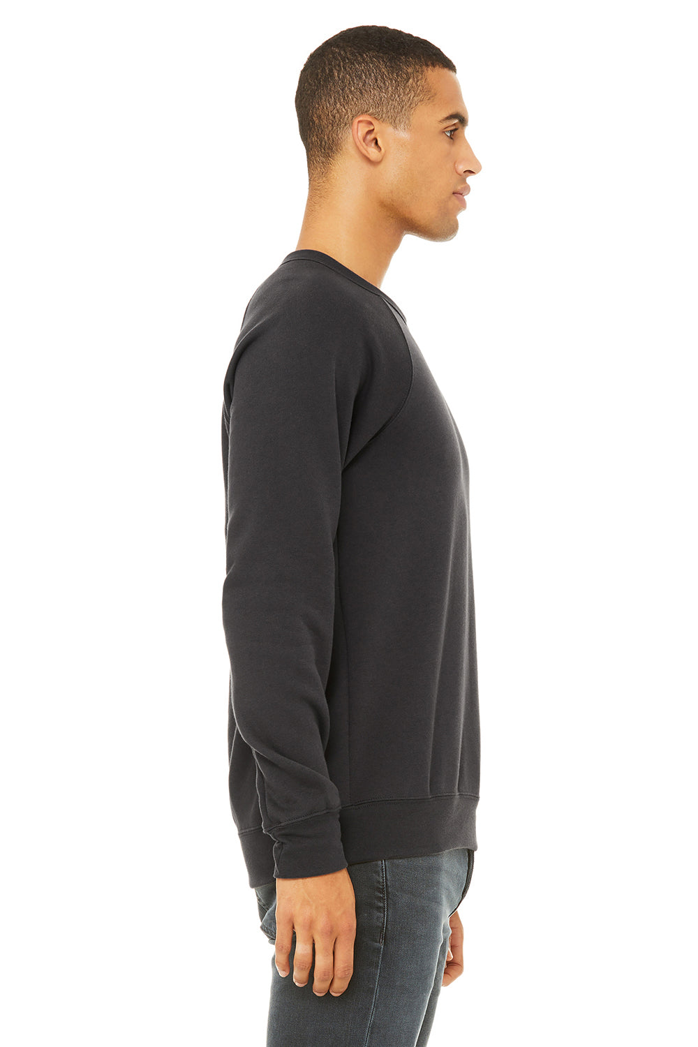 Bella + Canvas 3901 Mens Sponge Fleece Crewneck Sweatshirt Dark Grey Side