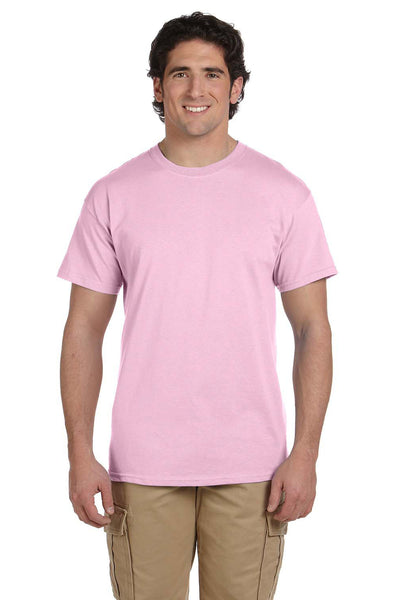Fruit Of The Loom 3931 Mens HD Jersey Short Sleeve Crewneck T-Shirt Classic Pink Front