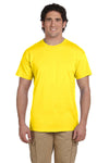 Fruit Of The Loom 3931 Mens HD Jersey Short Sleeve Crewneck T-Shirt Yellow Front
