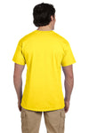 Fruit Of The Loom 3931 Mens HD Jersey Short Sleeve Crewneck T-Shirt Yellow Back