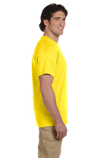 Fruit Of The Loom 3931 Mens HD Jersey Short Sleeve Crewneck T-Shirt Yellow Side