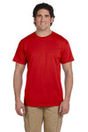 Fruit Of The Loom 3931 Mens HD Jersey Short Sleeve Crewneck T-Shirt Red Front