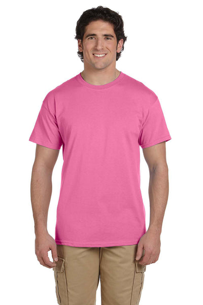 Fruit Of The Loom 3931 Mens HD Jersey Short Sleeve Crewneck T-Shirt Azalea Pink Front