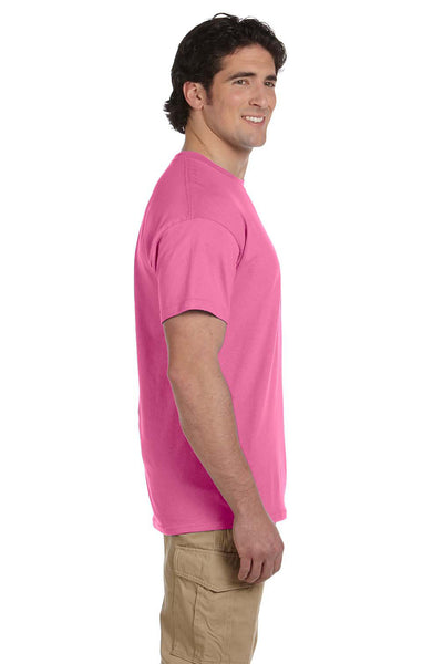 Fruit Of The Loom 3931 Mens HD Jersey Short Sleeve Crewneck T-Shirt Azalea Pink Side