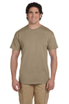 Fruit Of The Loom 3931 Mens HD Jersey Short Sleeve Crewneck T-Shirt Khaki Brown Front