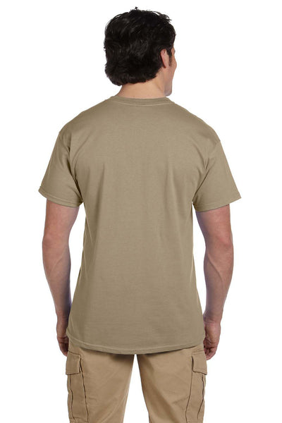 Fruit Of The Loom 3931 Mens HD Jersey Short Sleeve Crewneck T-Shirt Khaki Brown Back