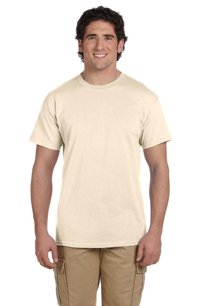 Fruit Of The Loom 3931 Mens HD Jersey Short Sleeve Crewneck T-Shirt Natural Front