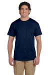 Fruit Of The Loom 3931 Mens HD Jersey Short Sleeve Crewneck T-Shirt Navy Blue Front