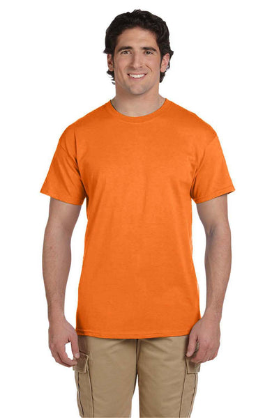 Fruit Of The Loom 3931 Mens HD Jersey Short Sleeve Crewneck T-Shirt Safety Orange Front