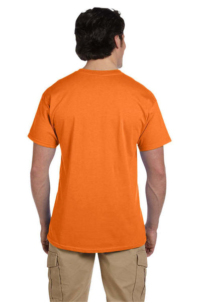 Fruit Of The Loom 3931 Mens HD Jersey Short Sleeve Crewneck T-Shirt Safety Orange Back