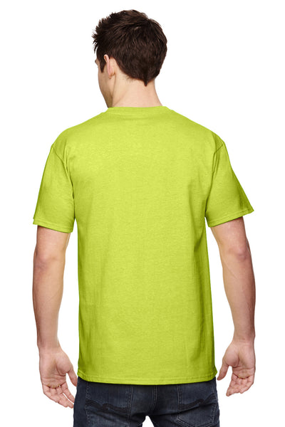 Fruit Of The Loom 3931 Mens HD Jersey Short Sleeve Crewneck T-Shirt Safety Green Back