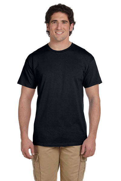 Fruit Of The Loom 3931 Mens HD Jersey Short Sleeve Crewneck T-Shirt Black Front