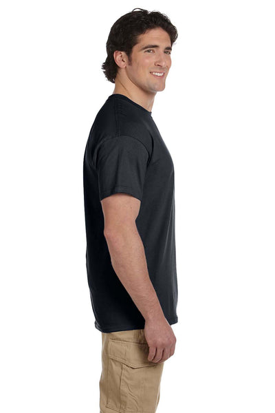 Fruit Of The Loom 3931 Mens HD Jersey Short Sleeve Crewneck T-Shirt Black Side