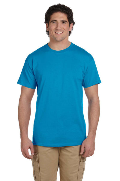 Fruit Of The Loom 3931 Mens HD Jersey Short Sleeve Crewneck T-Shirt Pacific Blue Front
