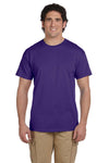 Fruit Of The Loom 3931 Mens HD Jersey Short Sleeve Crewneck T-Shirt Purple Front