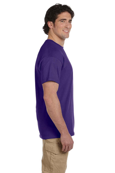 Fruit Of The Loom 3931 Mens HD Jersey Short Sleeve Crewneck T-Shirt Purple Side