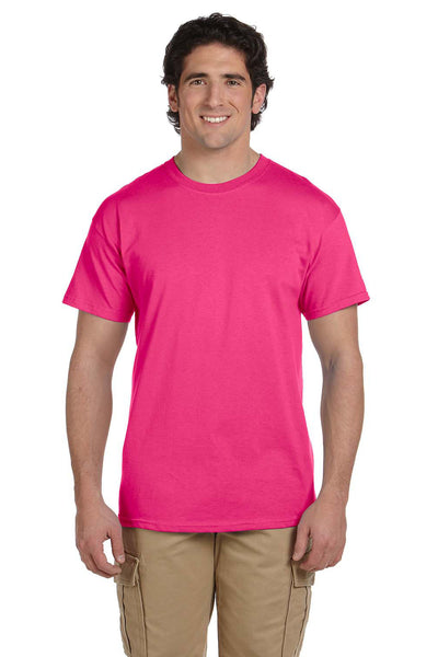 Fruit Of The Loom 3931 Mens HD Jersey Short Sleeve Crewneck T-Shirt Cyber Pink Front